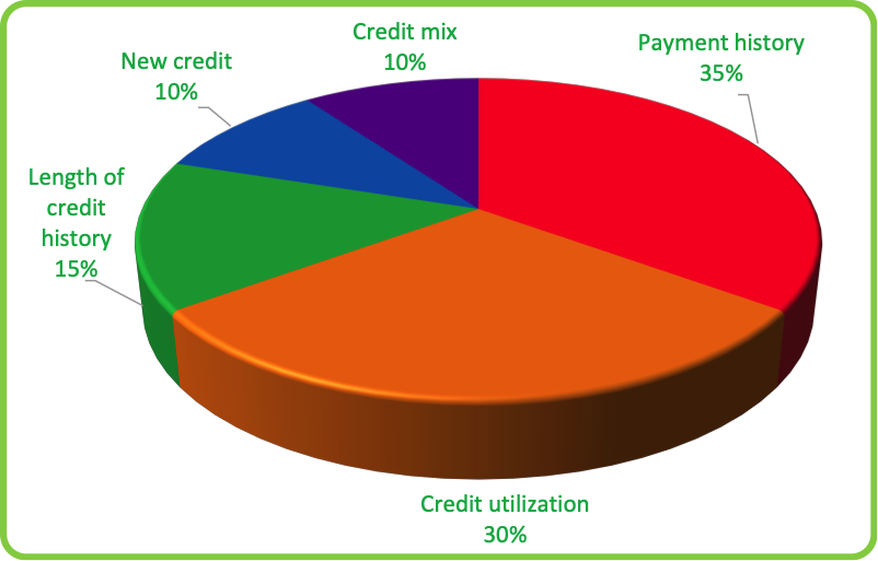 Pie chart of weights given to factors that drive credit score